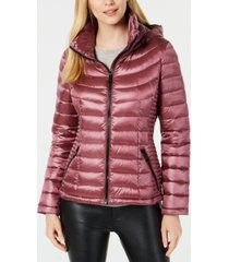 calvin klein petite hooded packable down puffer coat, created for macy's