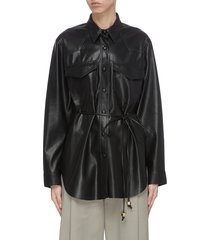 'eddy' belted faux leather shirt