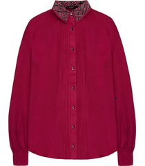 luxurious silk blouse pintucks fuchsia