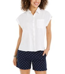 style & co button-front short-sleeve top, created for macy's