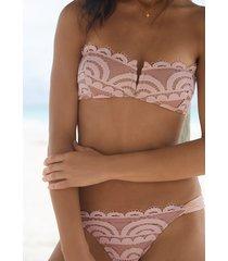 pq swim pink sand lace bandeau bikini