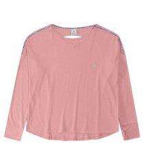 t-shirt malwee manga longa com recortes costas em viscolycra rosa
