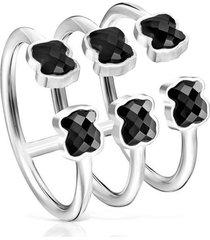 anillo mini onix triple de plata con ónix :918455520