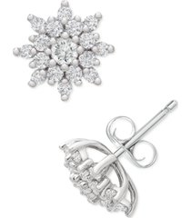 platinum by wrapped in love diamond flower cluster stud earrings (1/2 ct. t.w.) in platinum, created for macy's