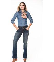 blusa camisera azul trucco's jeans 1610