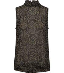 printed georgette blouse mouwloos bruin ganni