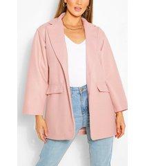 belted wool look blazer, dusky pink