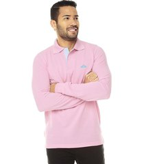 camiseta polovers polo manga larga slim fit-rosado oxford