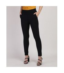 calça legging feminina jaccuard cintura média com bolso preta