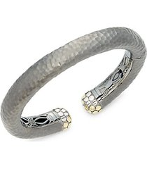dot moon rhodium-plated sterling silver & 18k yellow gold hammered cuff bracelet
