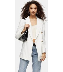 petite ivory belted double breasted blazer - ivory