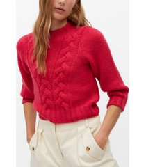 mango women's openwork cable-knit sweater