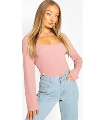 ribbed square neck top, rose pink