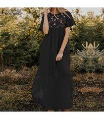 zanzea las mujeres de manga corta con estampado floral vestido largo kaftan vestidos maxi floja ocasional -negro