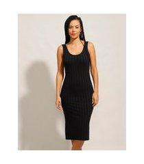 vestido canelado básico com fendas midi alça larga preto