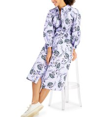 charter club cotton floral-print midi dress, created for macy's