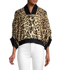 house of fluff women's leopard print bomber jacket - leopard - size s/m