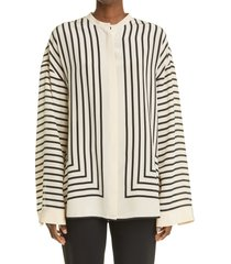 women's toteme stripe scarf print silk blouse, size 10 us - beige