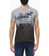 camiseta masculina estampa revolution cinza mescla calvin klein jeans - pp