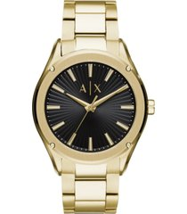 ax armani exchange men's fitz gold-tone stainless steel bracelet watch 44mm