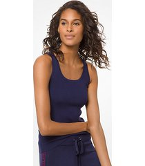 mk canotta in viscosa stretch a coste - navy brillante (blu) - michael kors
