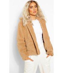 faux fur teddy jas met knopen, kameel