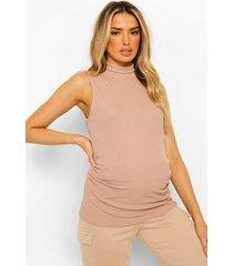 zwangerschap geribbeld hemd met hoge hals, stone