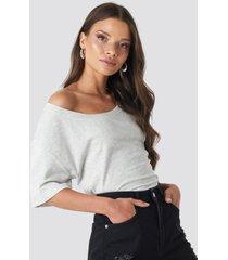 na-kd one shoulder t-shirt - grey