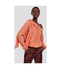 blusa de crepe assimetrico laranja califórnia - 44