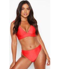 mix & match plunge bikini top, red
