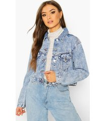 acid wash cropped jacket, mid blue