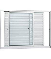 janela de alumínio de correr veneziana alumifort branca sem grade 3 folhas móveis 120x150x8,7 - sasazaki - sasazaki