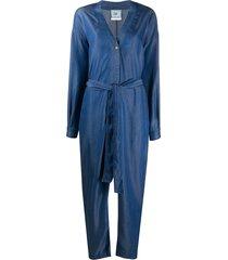 forte forte belted v-neck jumpsuit - blue