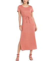 style & co textured tie waist maxi dress, in regular and petite, created for macy's