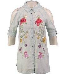 guess soepele lyocell blouse met borduringen valt kleiner