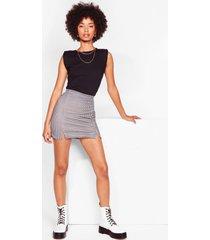womens gingham everything you've got slit mini skirt - black