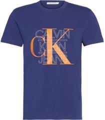 camiseta slim con logo gráfico azul calvin klein