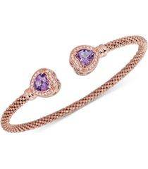 amethyst (1-3/8 ct. t.w.) & white topaz (1/3 ct. t.w.) heart cuff bracelet in 14k rose vermeil over sterling silver (also in swiss blue topaz)