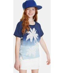 palm tree print t-shirt - blue - 5/6