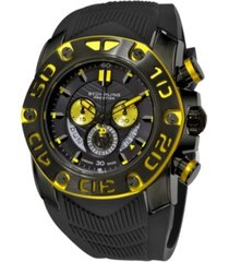 stuhrling original black ipb case, black dial, black and yellow bezel, and black high grade silicon rubber strap