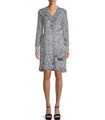 karl lagerfeld paris women's printed ruffle dress - black dutch - size 2