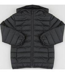 jaqueta infantil puffer com capuz e bolsos preta
