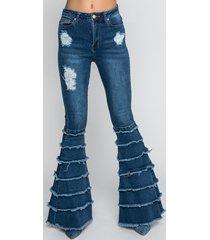akira feel it frayed tier flare jeans