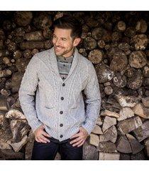 men's aran shawl collar cardigan gray xxl