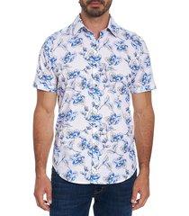 robert graham men's spencerville classic-fit floral shirt - white - size s