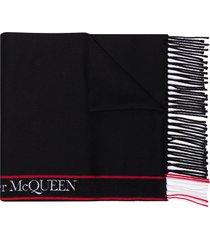 alexander mcqueen logo-tape fringed scarf - black