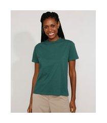 t-shirt feminina mindset básica manga curta decote redondo verde escuro