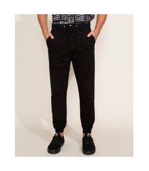 calça de sarja masculina jogger preta