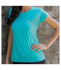 women's cotton t-shirt, 'mission novica in tosca blue' (indonesia)