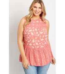maurices plus size womens pink floral crochet trim babydoll tank top